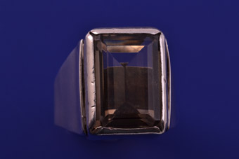 Silver Retro Ring With Smoky Quartz