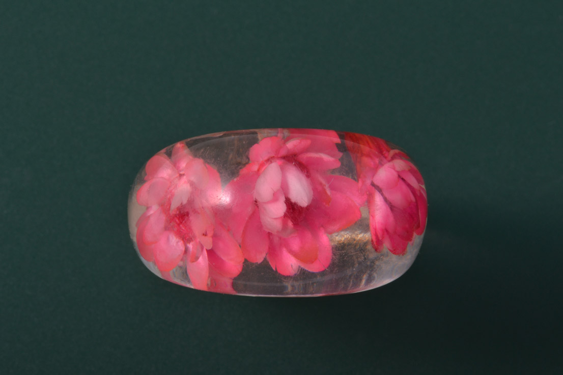 Plastic Vintage Ring With Dried Flowers Vintage