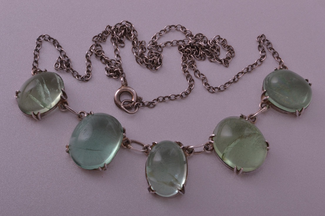 Silver Vintage Necklace With Genuine Stones