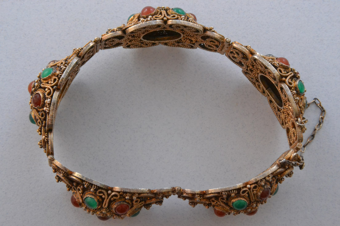 Silver Gilt Oriental Bracelet With Carnelian And