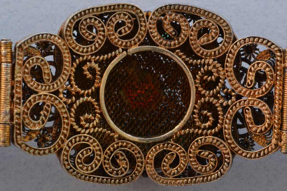 Silver Gilt Oriental Bracelet With Carnelian And