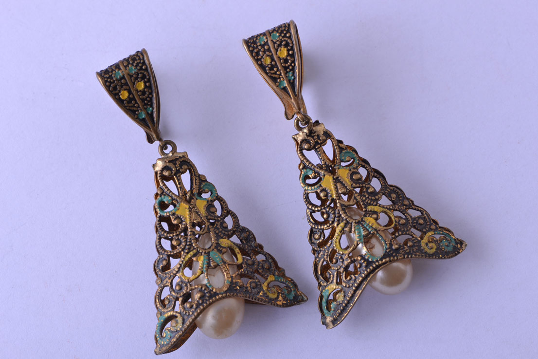 Vintage Screw On Filigree Drop Earrings With Enamel And Faux Pearls
