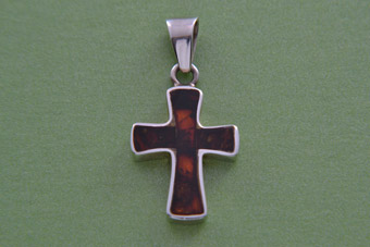 Silver And Amber Modern Cross