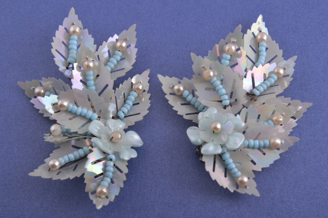 1950's Clip On Earrings With Sequins And Beads