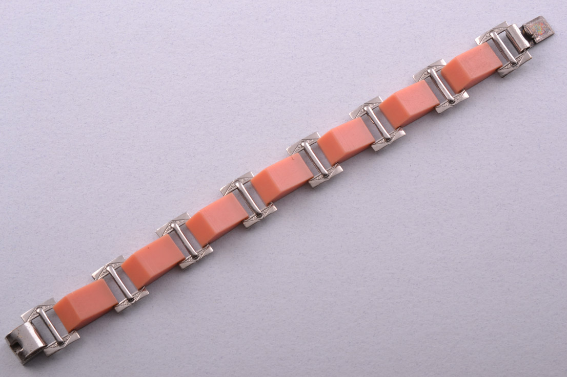 Plastic And Chrome Art Deco Bracelet