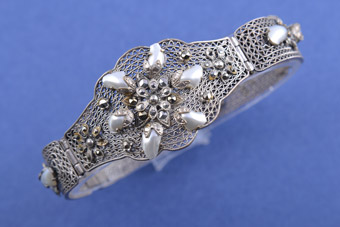 Silver 1950's Filigree Bracelet With Marcasite And Pearls
