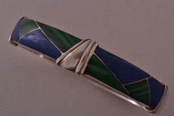 Silver Vintage Bangle With Lapis Lazuli And Malachite