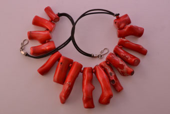 Red Branch Coral Modern Necklace On A Leather Thong