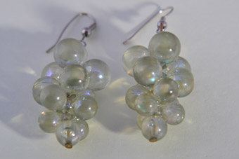 Plastic 1950's Grape Hook Earrings