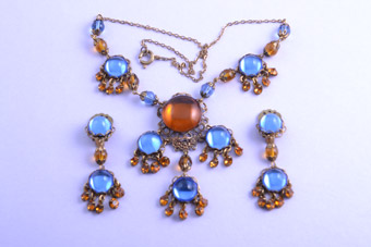 Gilt 1950's Set With Rhinestones
