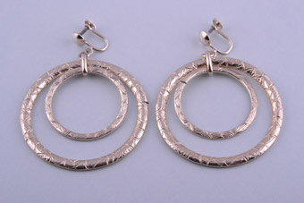1950's Hoop Screw On Earrings With Engraving