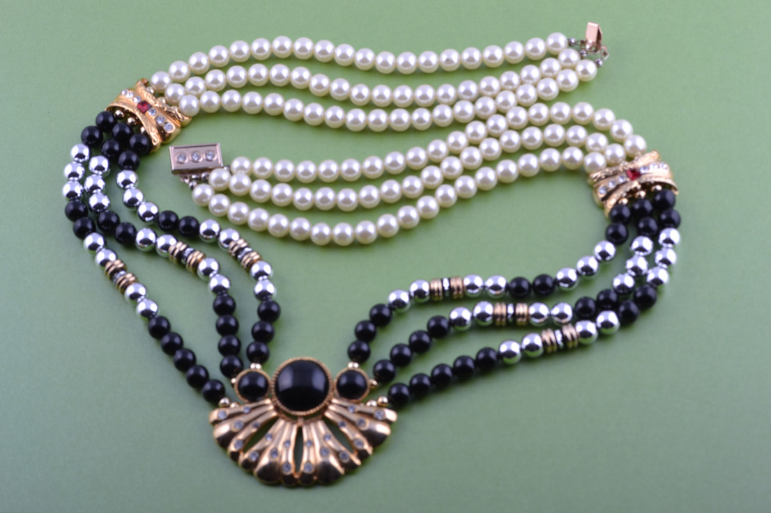 Gilt 1980's Necklace With Faux Pearls, Beads And Diamanté