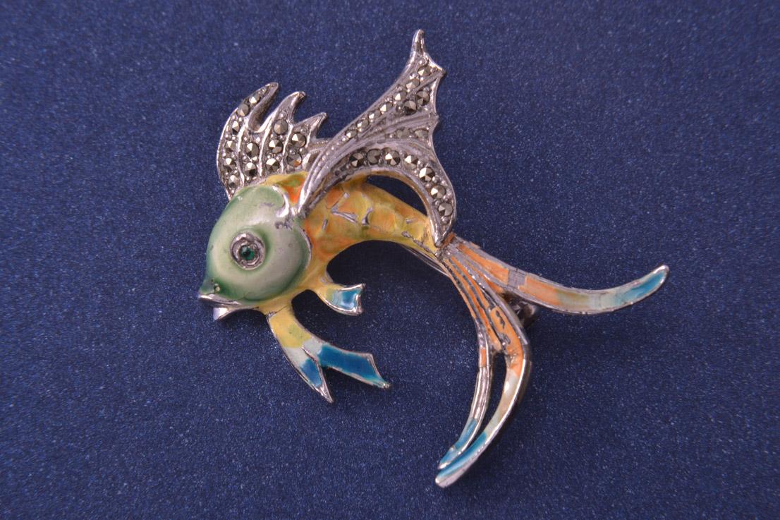 Enamel Vintage Fish Brooch With Marcasite Vintage