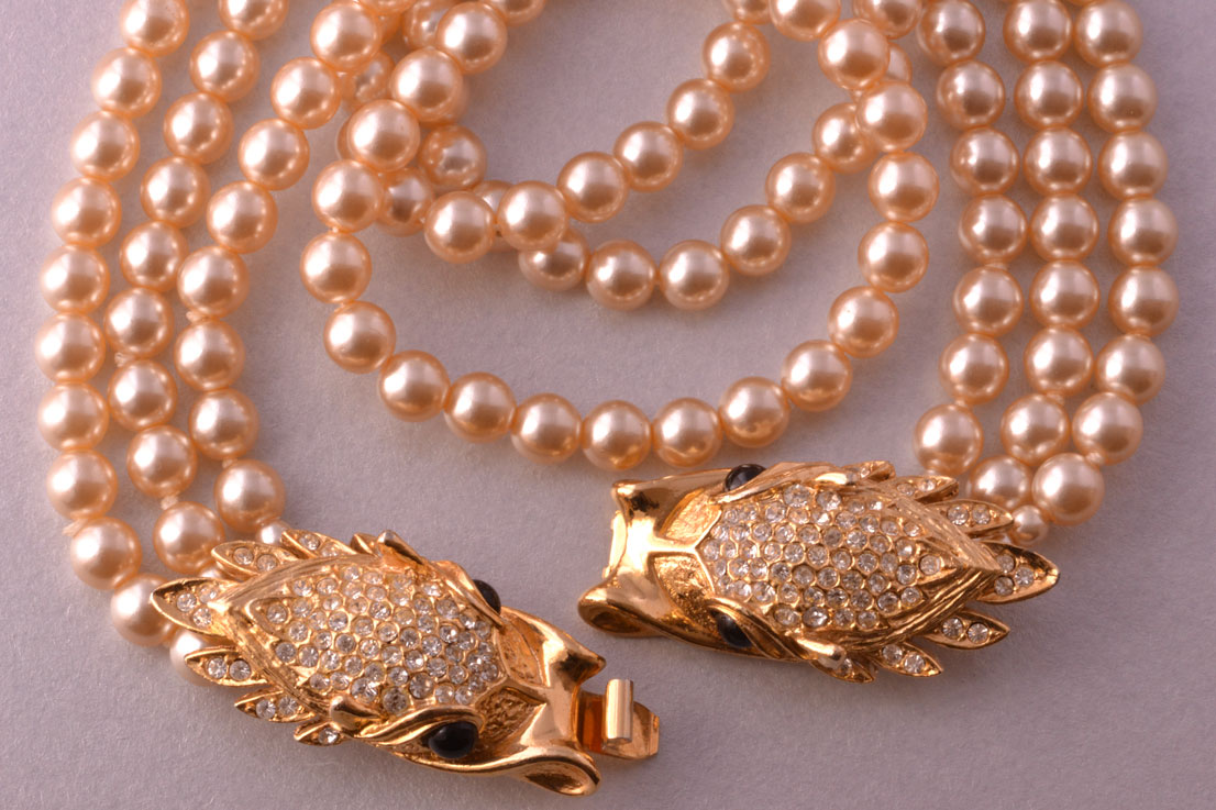 Faux Pearl Vintage Sphinx Necklace