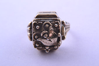 Silver Gilt 1950's Floral Felsus Ring / Watch
