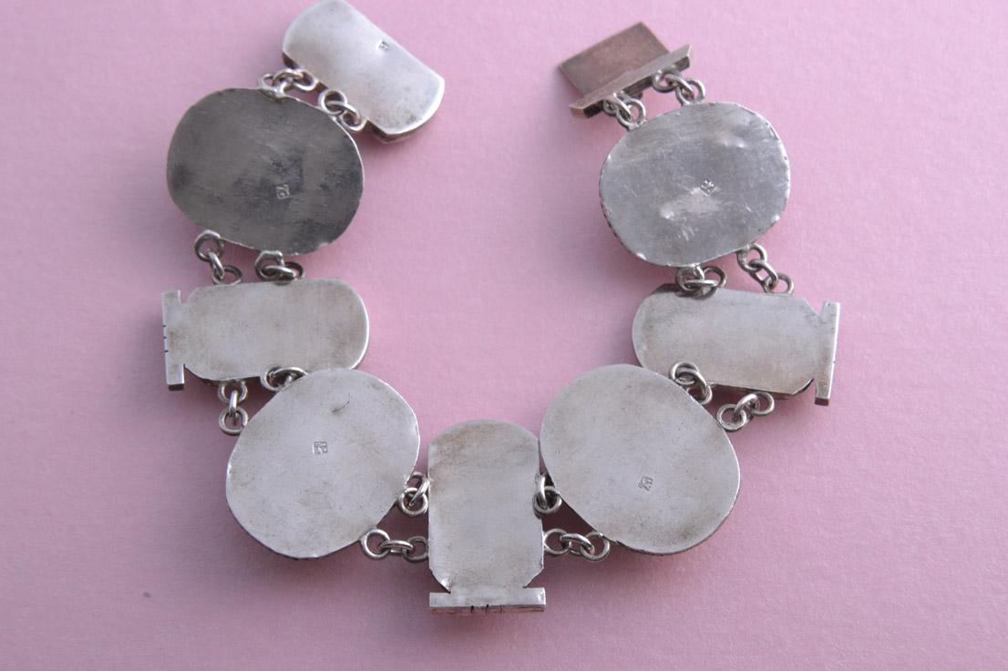 Silver 1920 S Egyptian Scarab Bracelet Vintage Jewellery