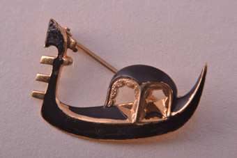 Gilt Vintage Gondola Brooch From Italy