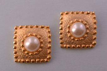 Gilt Vintage 1980's Clip On Earrings With Faux Pearls