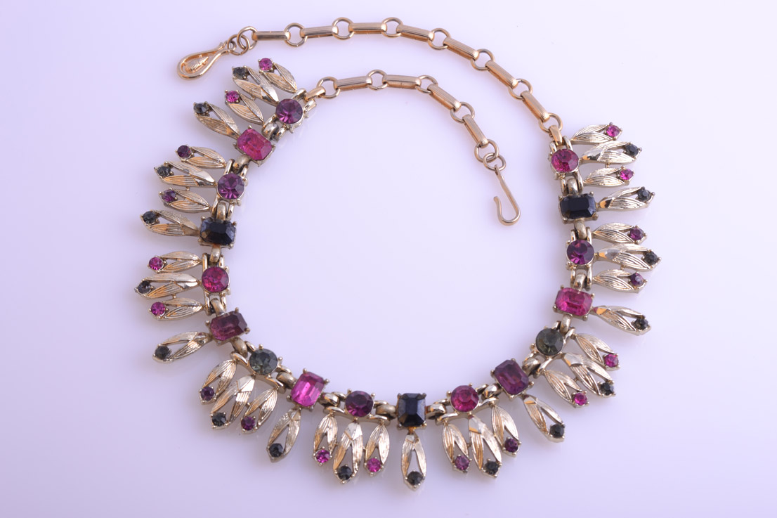 Gilt 1950's Coro Necklace With Coloured Diamanté