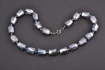 Plastic Vintage Necklace With Gunmetal Grey Beads
