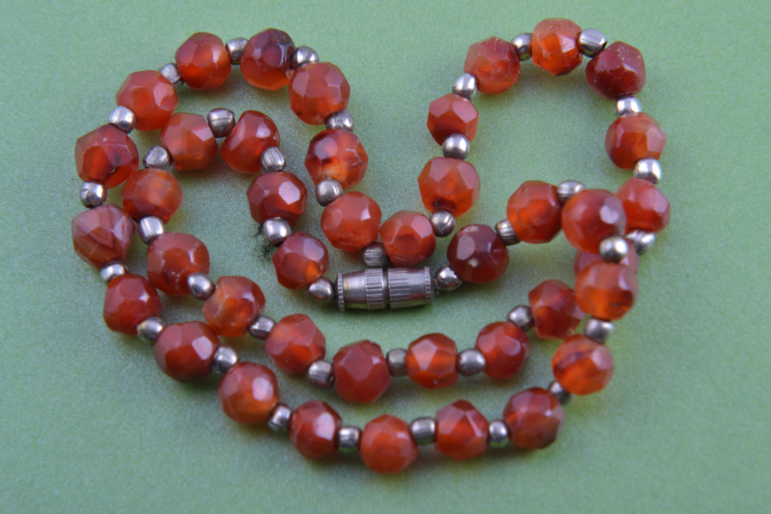 Silver Necklace With Carnelian Beads