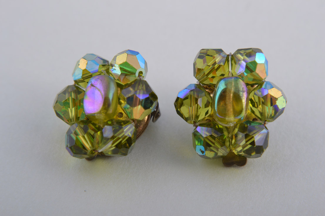 1950's Clip On Earrings With Green Crystal Beads