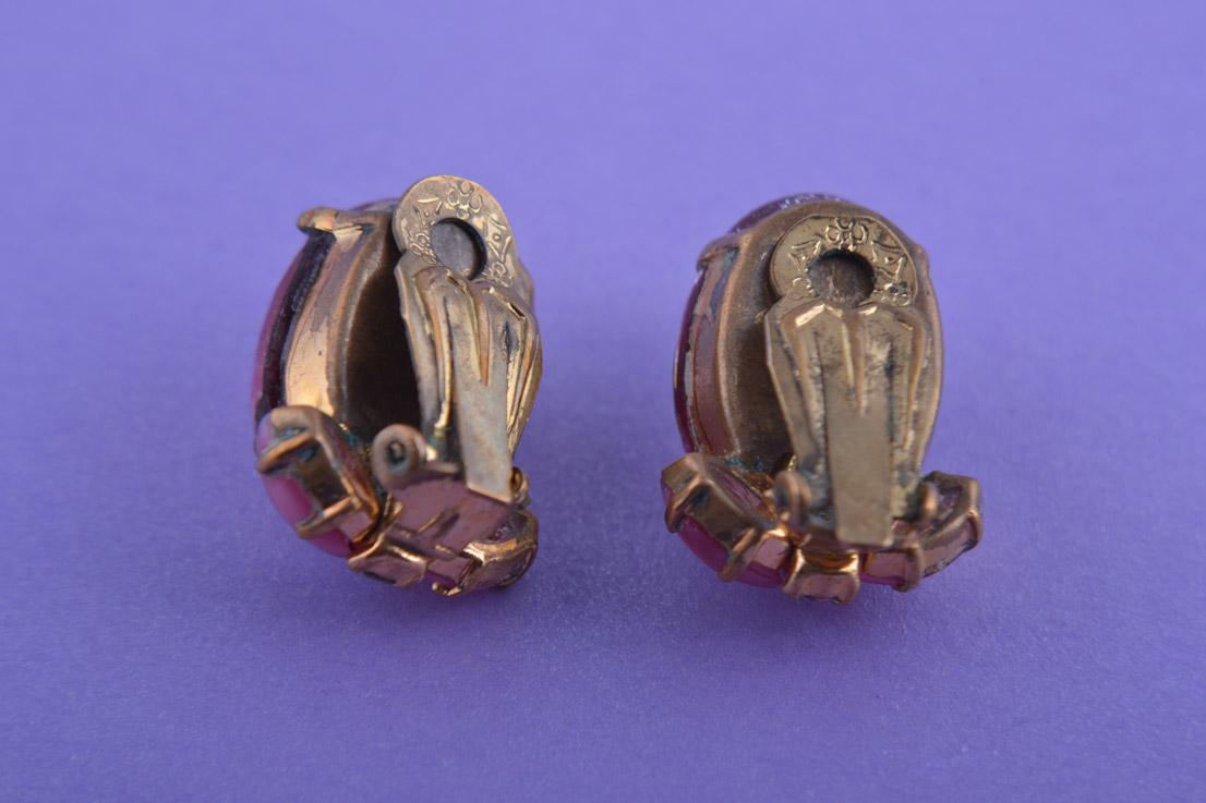 1950 S Glassy Pink Clip On Earrings Vintage Jewellery