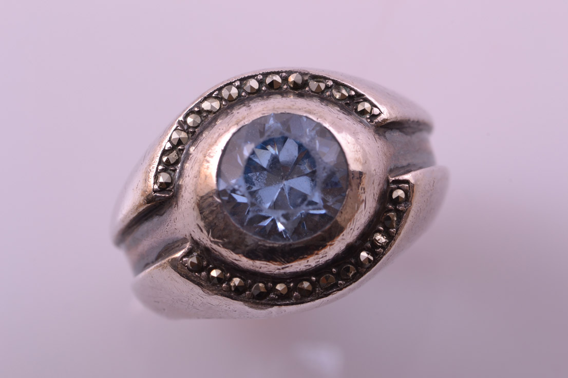 Silver Vintage Ring With Marcasite And A Light Blue Stone