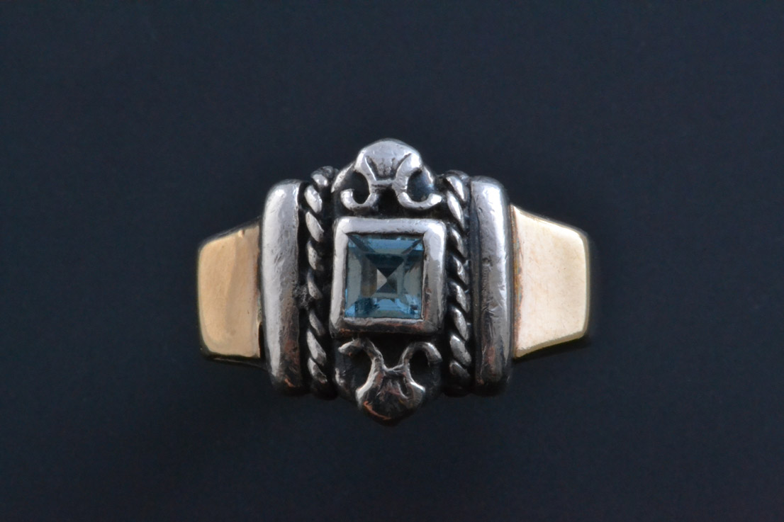 Silver And Gold Ring With Topaz