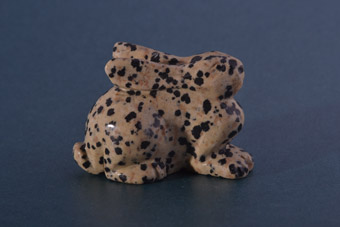 Modern Dalmatian Jasper Carved Rabbit