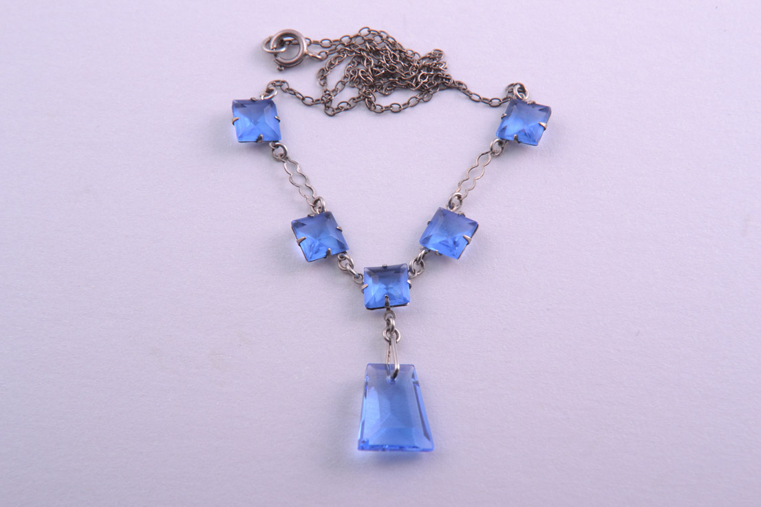 1930's Necklace With Cornflower Blue Crystals
