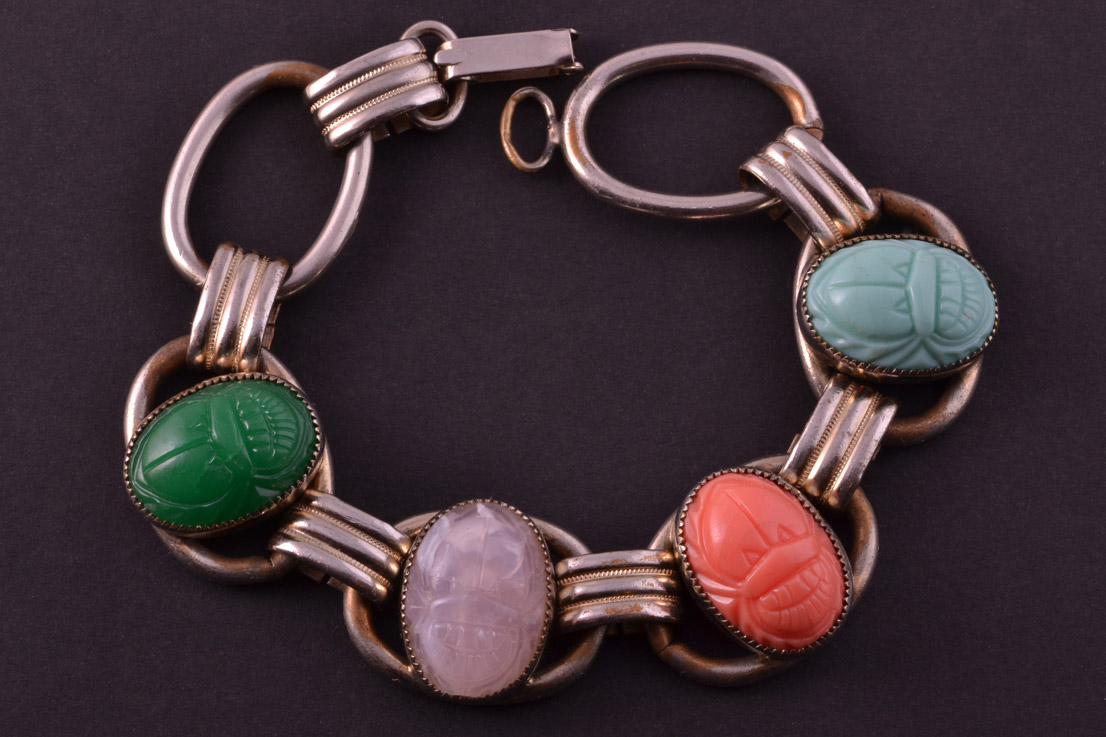 Gilt 1950's Bracelet With Faux Scarabs