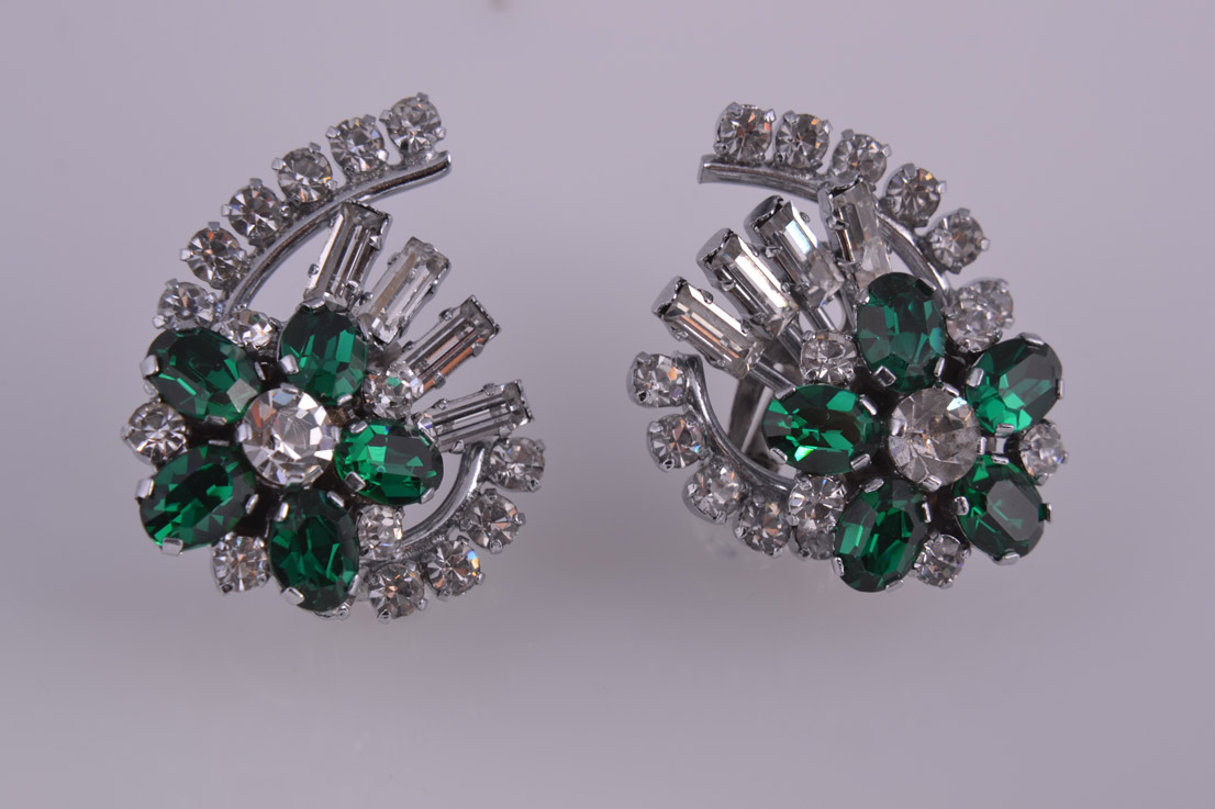 Rhodium Plated Clip On Earrings With Green And White Paste