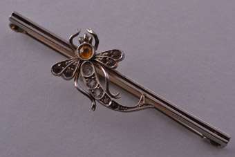 Silver Gilt Edwardian Dragonfly Brooch With Paste