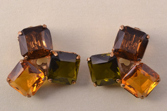 1960's Clip On Earrings With Paste
