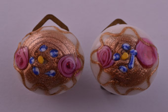 Vintage Murano Wedding Cake Clip On Earrings