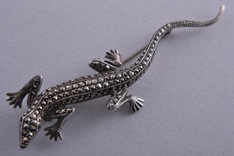 Silver Lizard Brooch With Marcasite Vintage Jewellery