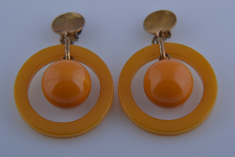 Plastic Art Deco Hoop Clip On Earrings