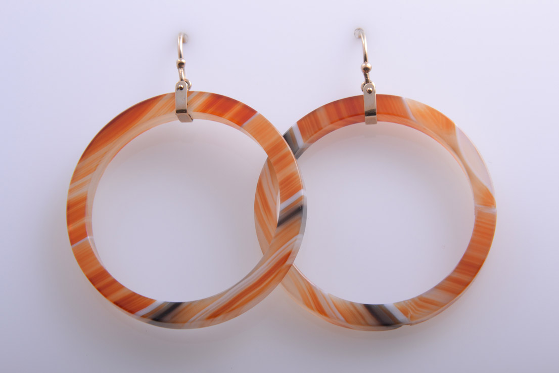 Agate Victorian Hoop Earrings With 9ct Rose Gold Hooks