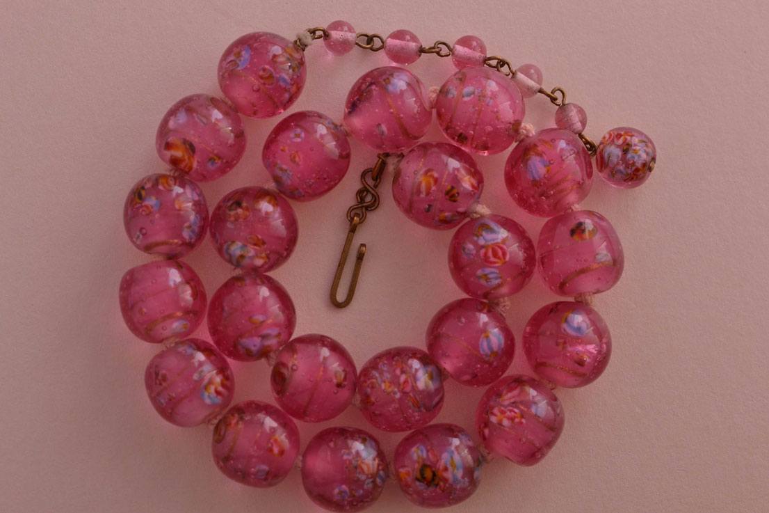 Vintage Knotted Necklace With Luminous Pink Glass Beads