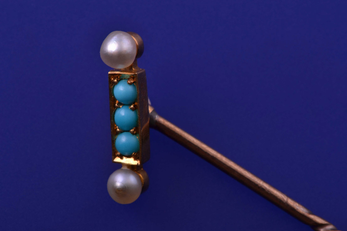 9ct Yellow Gold Victorian Stick Pin With Turquoise And Pearls