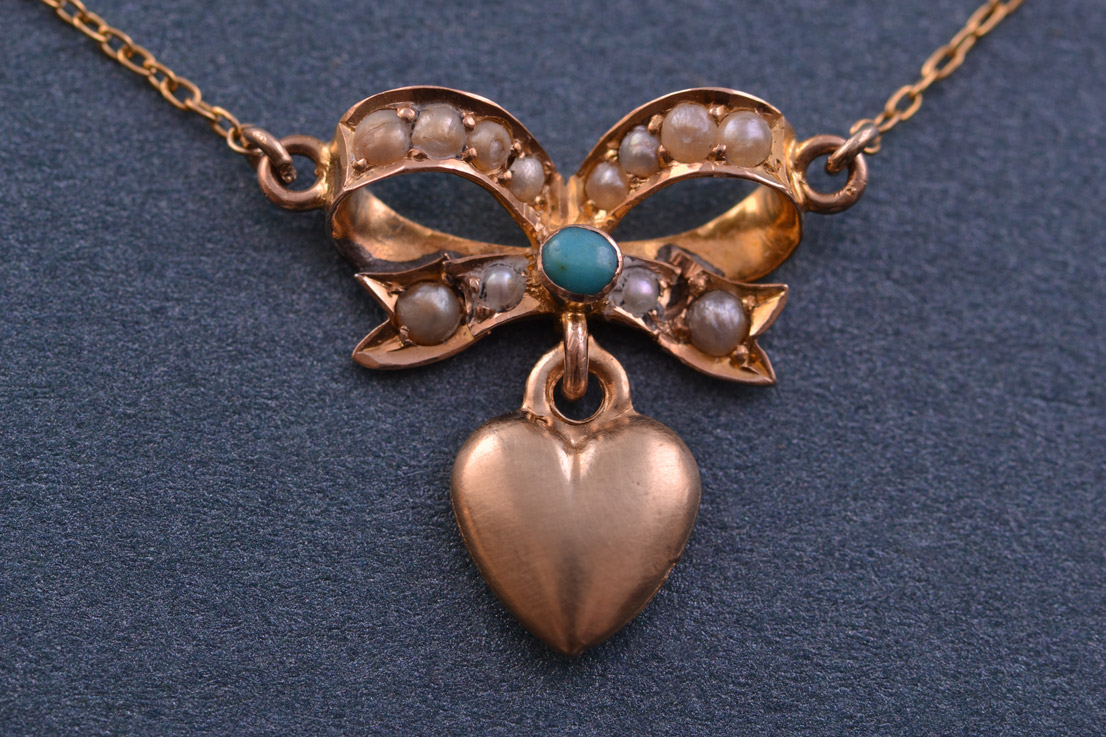 9ct Yellow Gold Victorian Necklace With Turquoise And