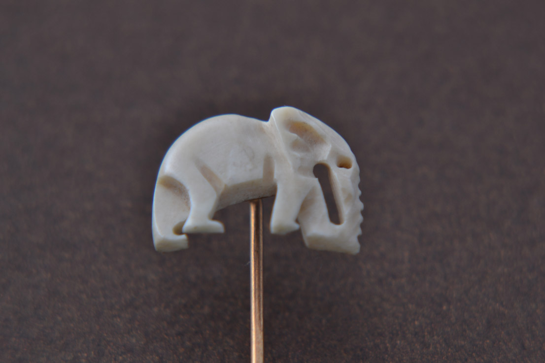 Ivory And Gilt Vintage African Elephant Stick Pin