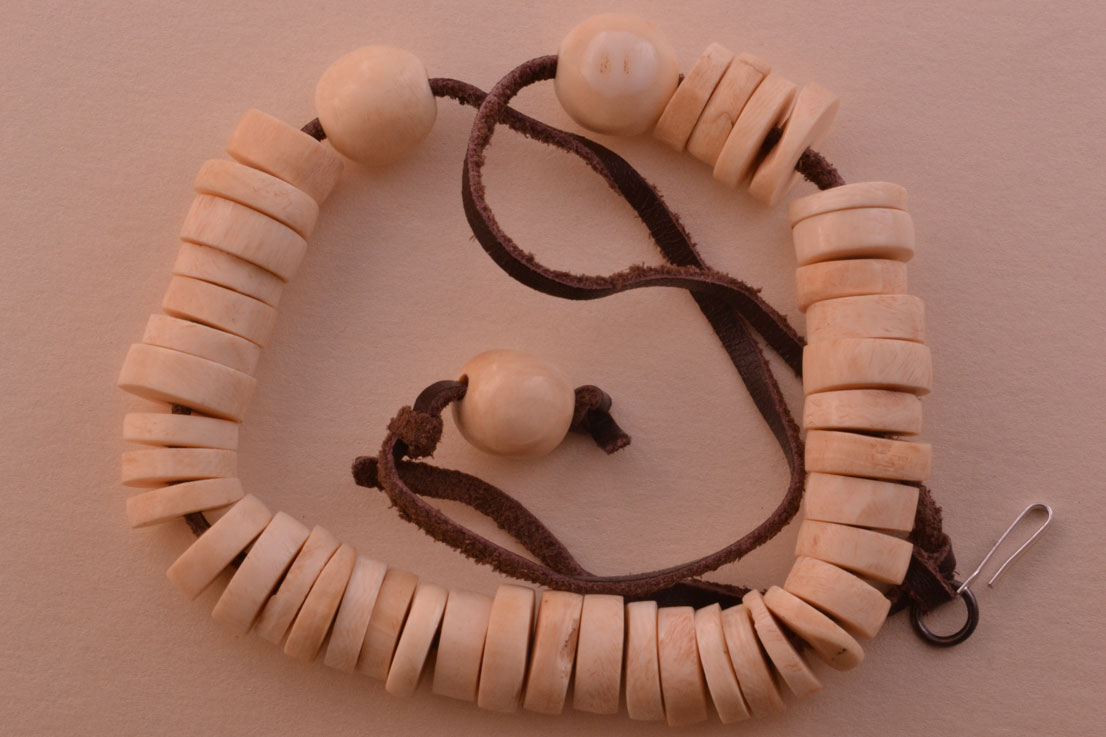 Bone And Leather Vintage Necklace