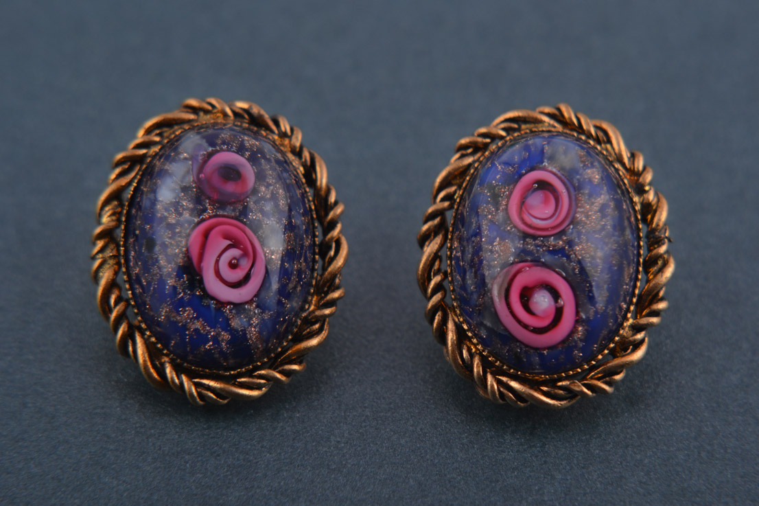 1960's Millefiori Type Glass Clip On Earrings