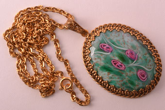 Gilt 1960's Pendant With Millefiori Type Glass