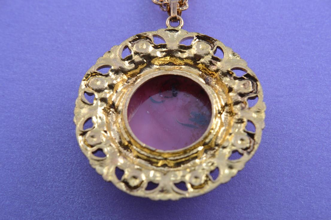 Gilt Vintage Pendant With Millefiori Type Glass Vintage