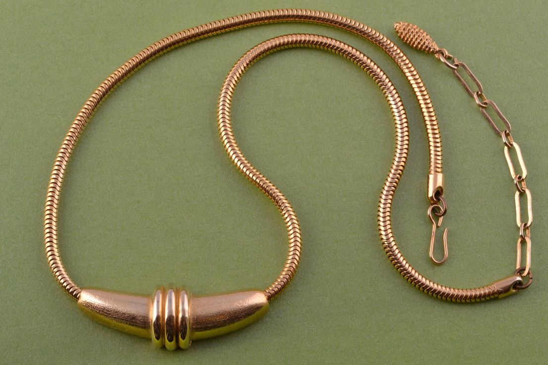 Gilt 1980's Snake-Chain Necklace