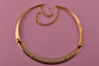 Gilt Vintage Necklace / Choker With Heart Motifs