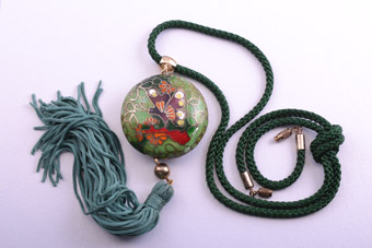 Cloisonné And Silk Oriental Necklace